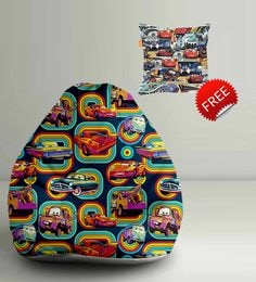 Cars Theme Digital Printed Bean Bag XXL Filled With Beans