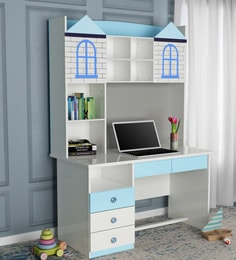 Castle Study Table In Glossy White U0026 Blue Finish