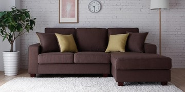 castilla lhs two seater sofa with lounger and throw cushions in brown colour