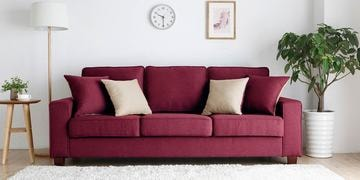Castilla Three Seater Sofa In Red Colour By CasaCraft