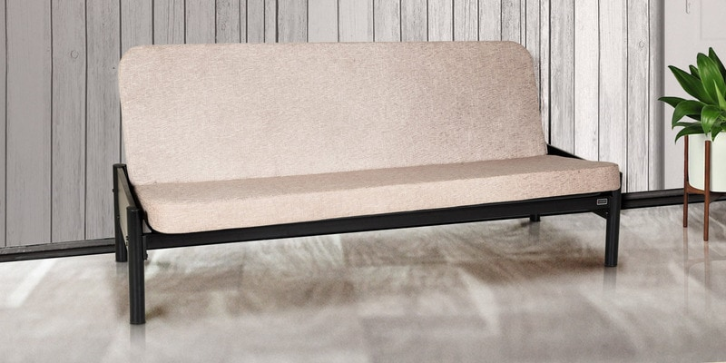 Cairo Metallic Sofa Cum Bed with Biege Mattress by FurnitureKraft