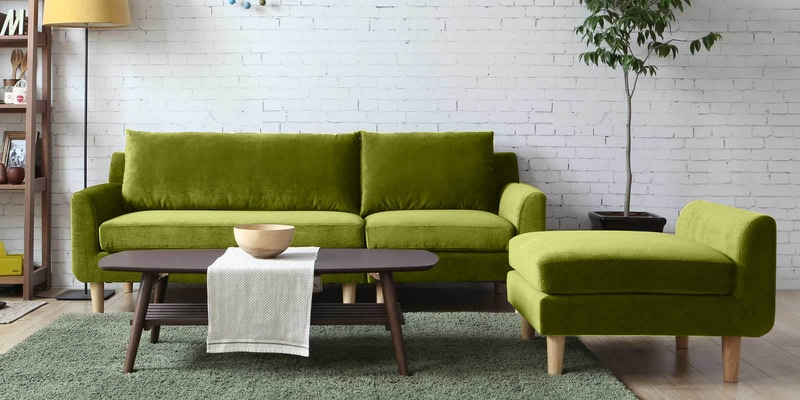 Calgary Three Seater Sofa with Lounger in Green Colour by CasaCraft