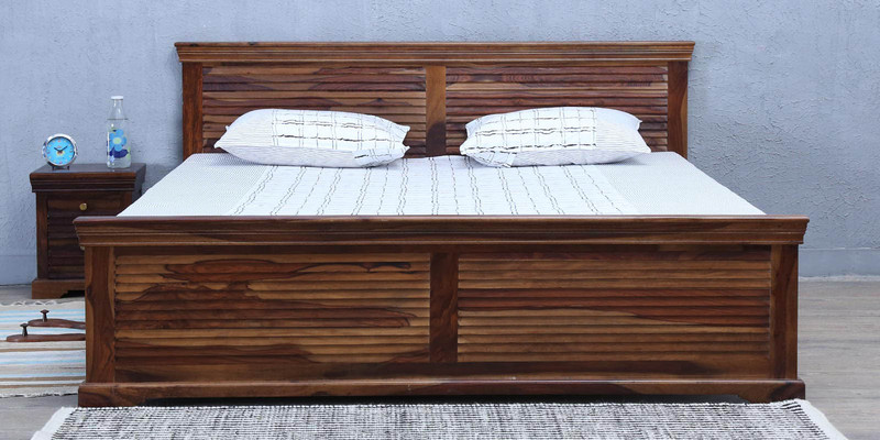 Carleson Solidwood Queen Bed in Provincial Teak Finish by Amberville