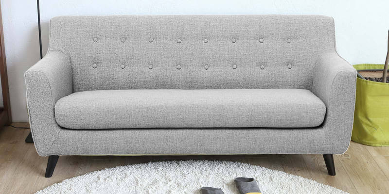 Carlito Three Seater Sofa in Grey Colour by CasaCraft
