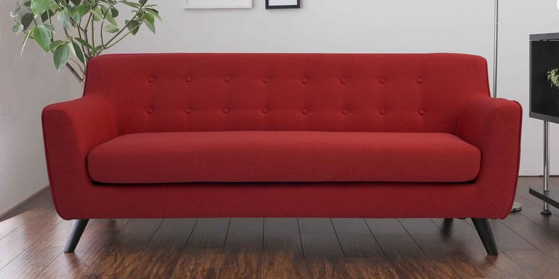 Carlito Three Seater Sofa in Red Colour by CasaCraft