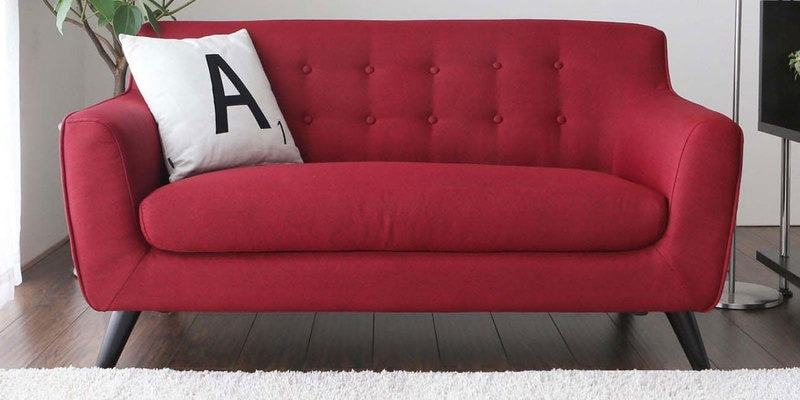 Carlito Two Seater Sofa in Red Colour by CasaCraft