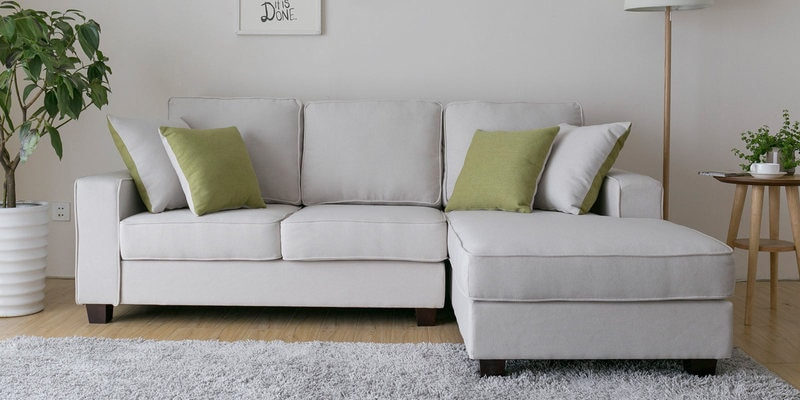 Castilla LHS Two Seater Sofa with Lounger and Throw Cushions in Beige Colour by CasaCraft