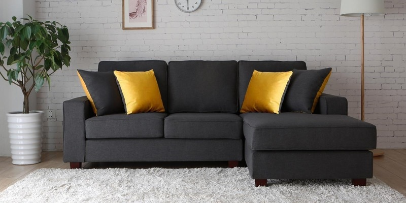 Castilla LHS Two Seater Sofa with Lounger and Throw Cushions in Grey Colour by CasaCraft
