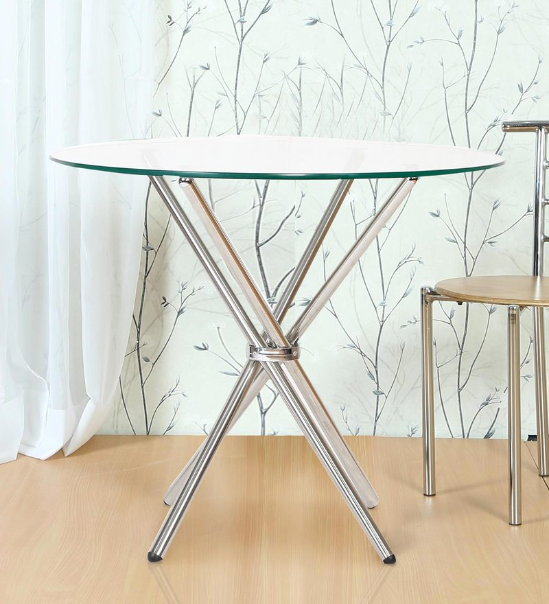 Cafeteria Table with Glass Top & Metallic Base by FullStock