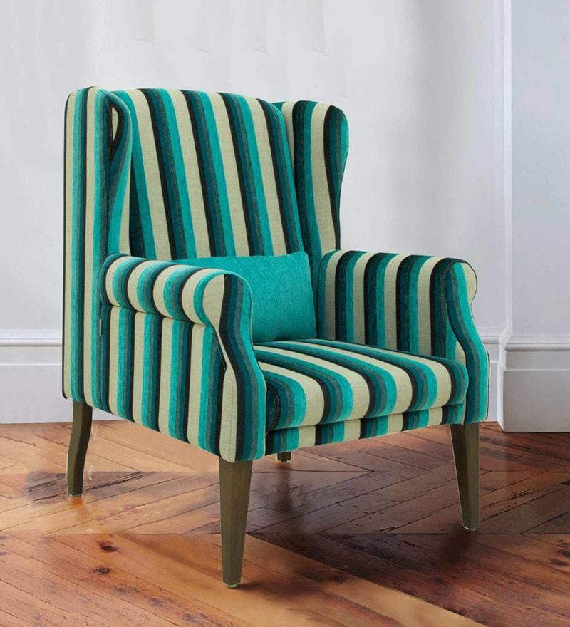 Calisto Wing Chair in Blue Stripes Colour by CasaCraft