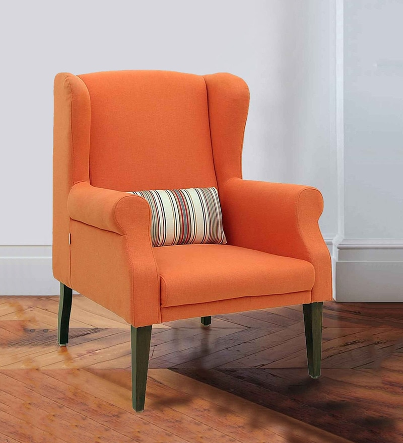 Calisto Wing Chair in Rust Colour by CasaCraft
