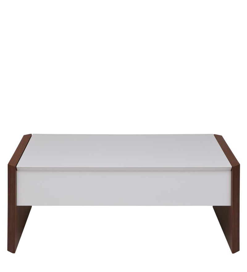 Calix Retractable Coffee Table in White & Walnut Finish by Evok