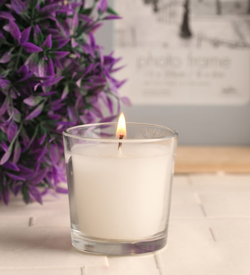 White Glass Candle by Gupta Glass Gallery