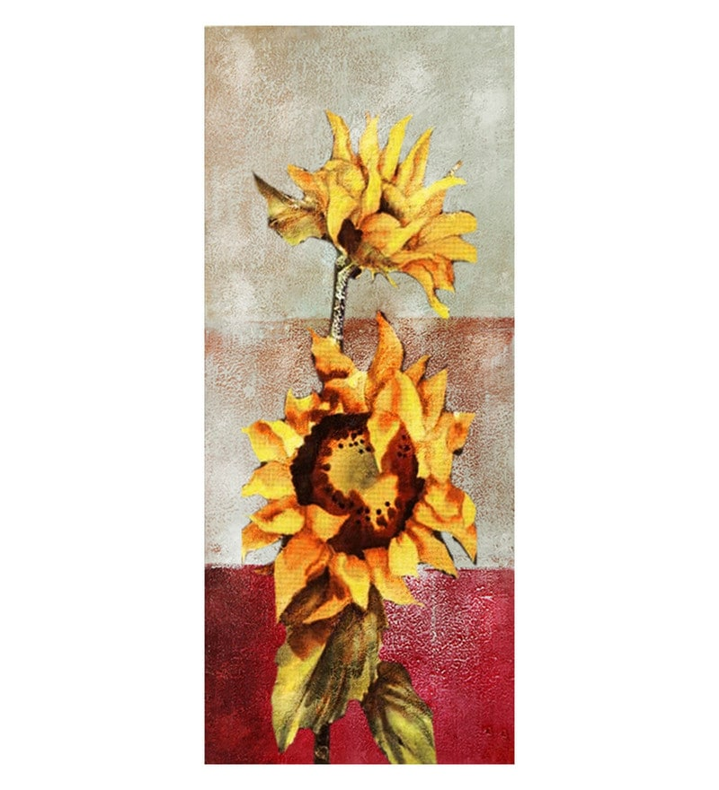 Canvas 12 x 0.2 x 36 Inch Two Sunflowers Unframed Handpainted Art Painting by Fizdi Art Store