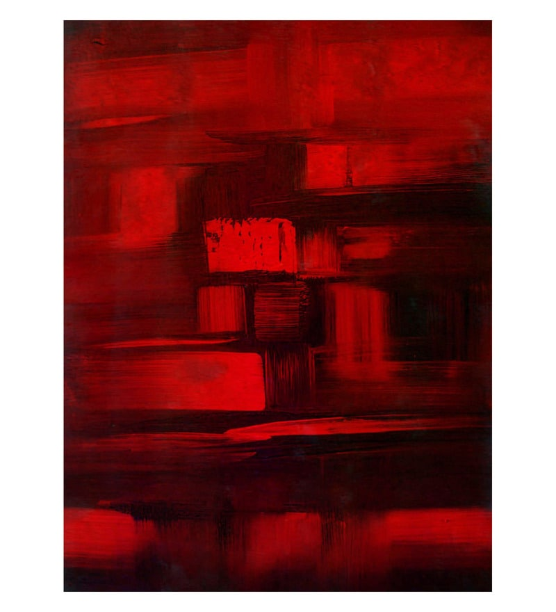 Canvas 18 x 0.2 x 22 Inch Red & Black Unframed Handpainted Art Painting by Fizdi Art Store