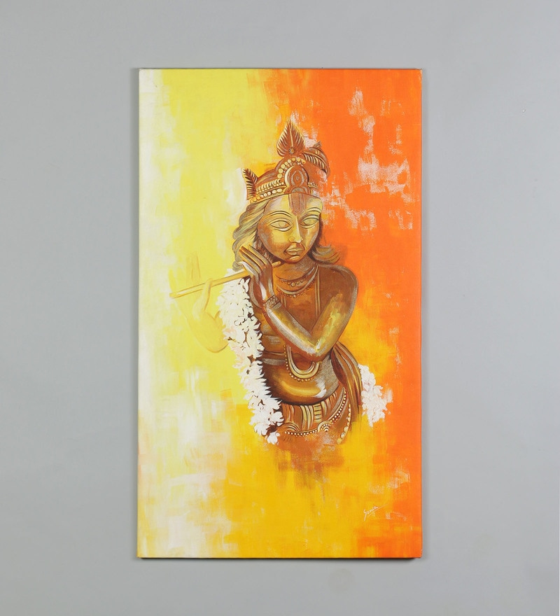 Buy Canvas 20.5 x 1 x 35 Inch Krishna Painting by Retcomm Art Online ...