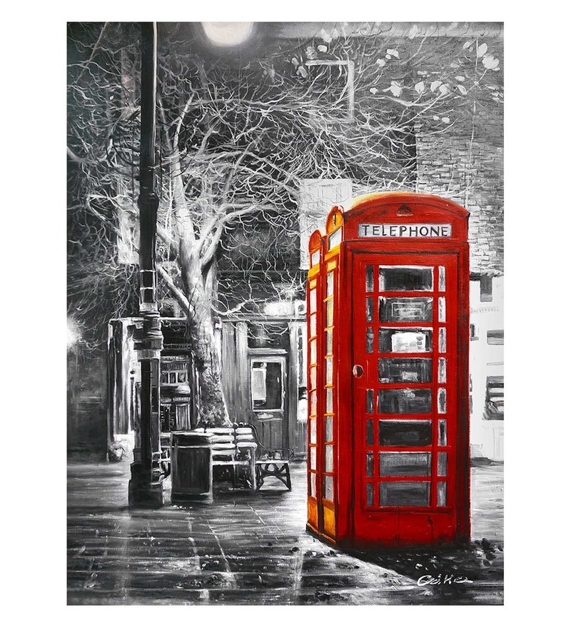 Canvas 20 x 0.2 x 24 Inch Telephone Booth Unframed Handpainted Art Painting by Fizdi Art Store