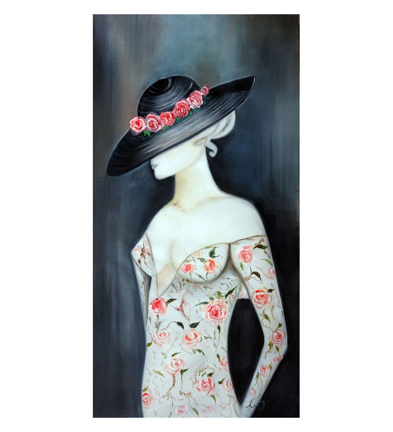 Canvas 20 x 0.2 x 40 Inch Lady in Black Hat Unframed Handpainted Art Painting by Fizdi Art Store
