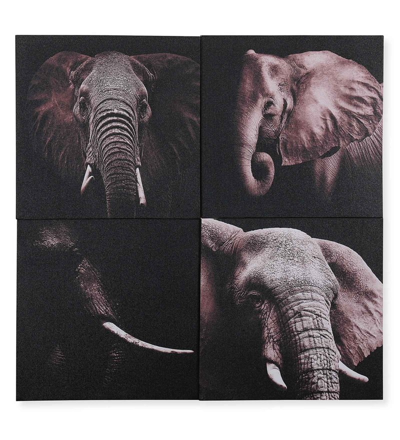 Canvas 23.62 x 1.1 x 23.62 Inch 3D Elephant Painting by @Home