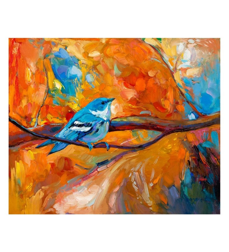 Canvas 24 x 0.2 x 20 Inch Blue Visit Unframed Handpainted Art Painting by Fizdi Art Store