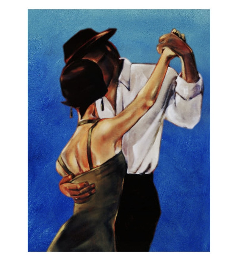 Canvas 24 x 0.2 x 32 Inch Dancing Couple Unframed Handpainted Art Painting by Fizdi Art Store