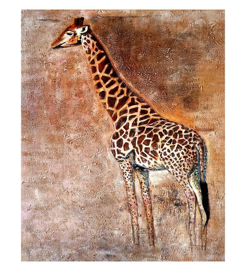 Canvas 24 x 0.2 x 32 Inch Wild Life Unframed Handpainted Art Painting by Fizdi Art Store