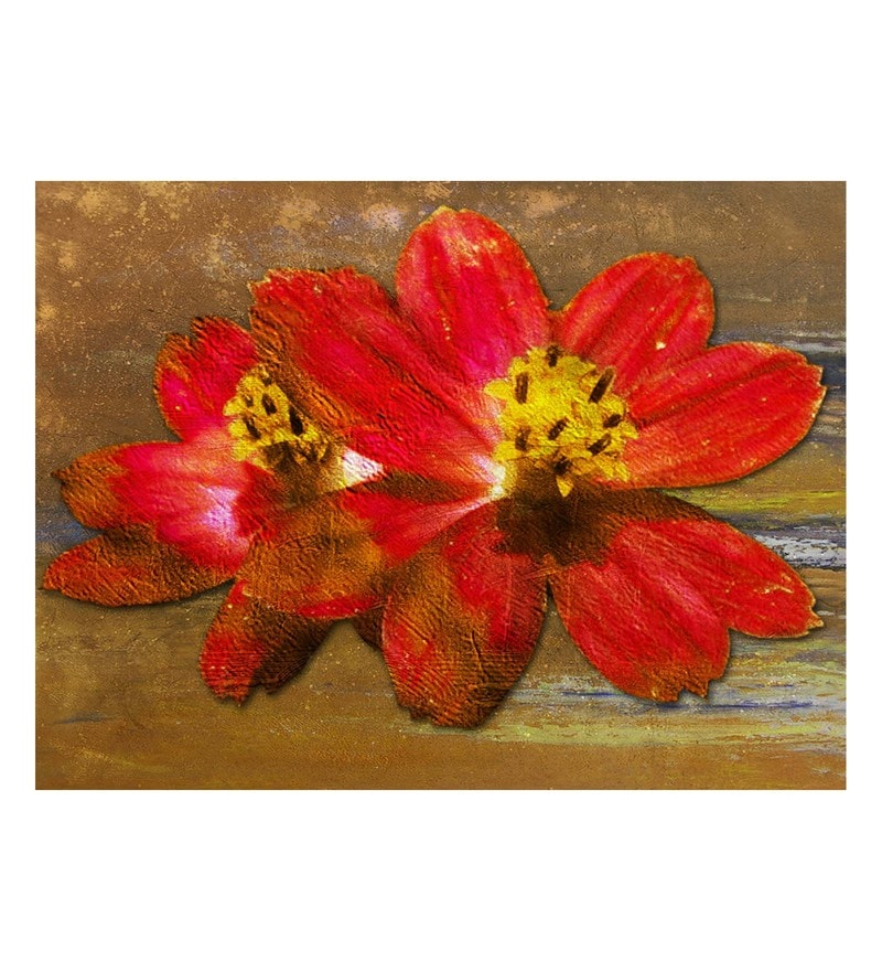 Canvas 32 x 0.2 x 24 Inch Floral Life Unframed Handpainted Art Painting by Fizdi Art Store