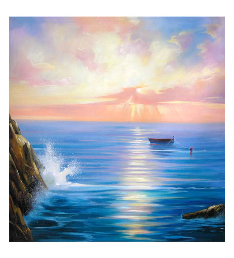 Canvas 32 x 0.2 x 32 Inch Seascape Unframed Handpainted Art Painting by Fizdi Art Store