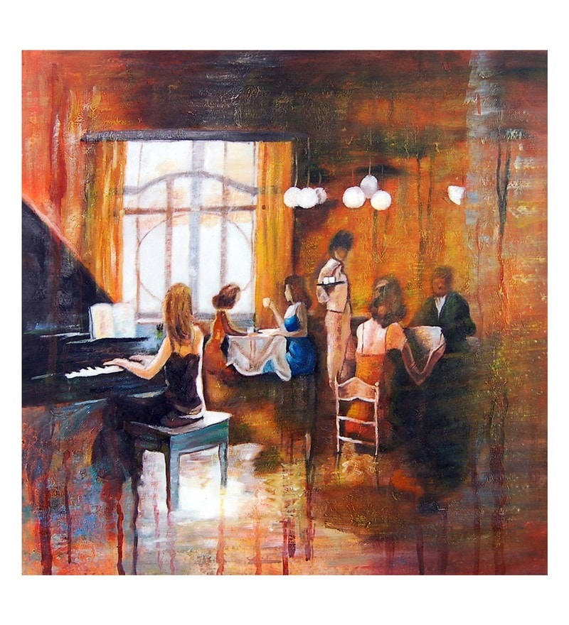 Canvas 32 x 0.2 x 32 Inch Served with Music Unframed Handpainted Art Painting by Fizdi Art Store