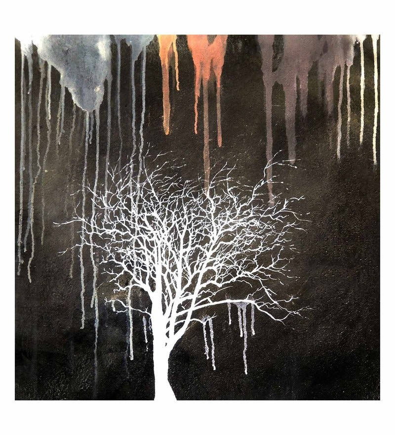 Canvas 32 x 0.2 x 32 Inch White Tree Unframed Handpainted Art Painting by Fizdi Art Store