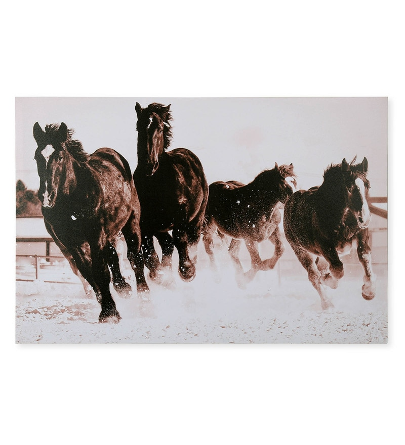 Canvas 35.43 x 1.1 x 23.62 Inch Horses Painting by @Home