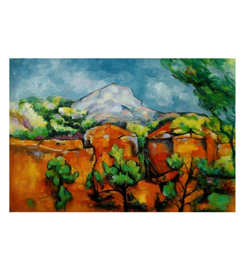 Canvas 36 x 0.2 x 24 Inch Bare Land Unframed Handpainted Art Painting by Fizdi Art Store