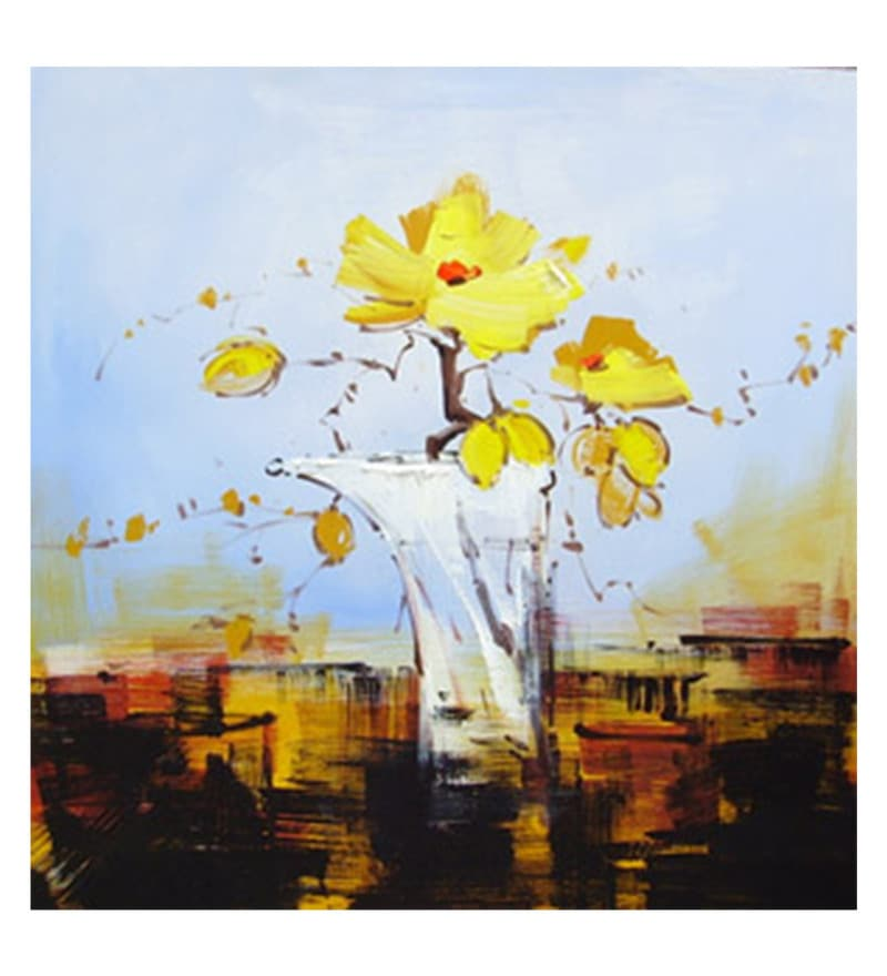 Canvas 36 x 0.2 x 36 Inch Yellow Flower Vase Unframed Handpainted Art Painting by Fizdi Art Store