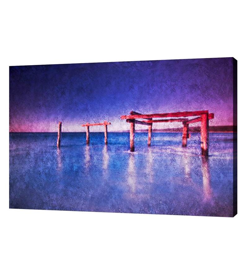 Canvas 40 x 0.2 x 30 Inch Ocean Blue Unframed Handpainted Art Painting by Fizdi Art Store