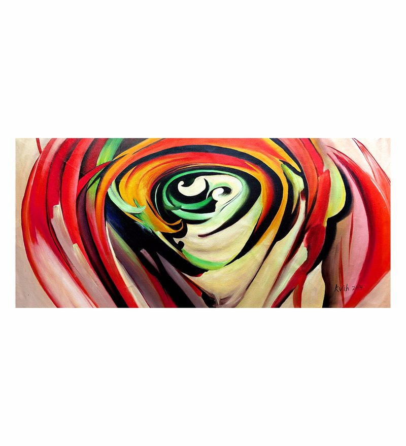 Canvas 44 x 0.2 x 20 Inch Red Rose Petals Unframed Handpainted Art Painting by Fizdi Art Store