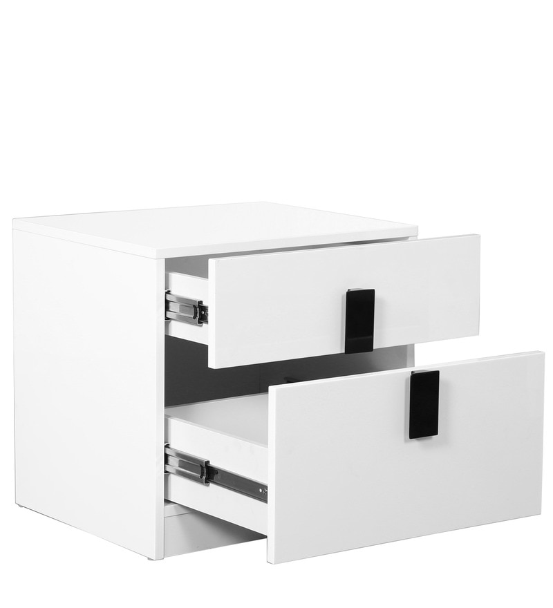 Buy carol high gloss bedside table in white black colour for Buy white bedside table