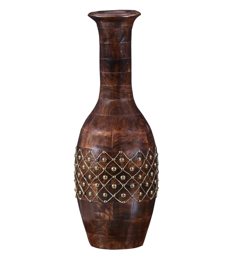 Carved Provincial Teak Vase by Hanumant