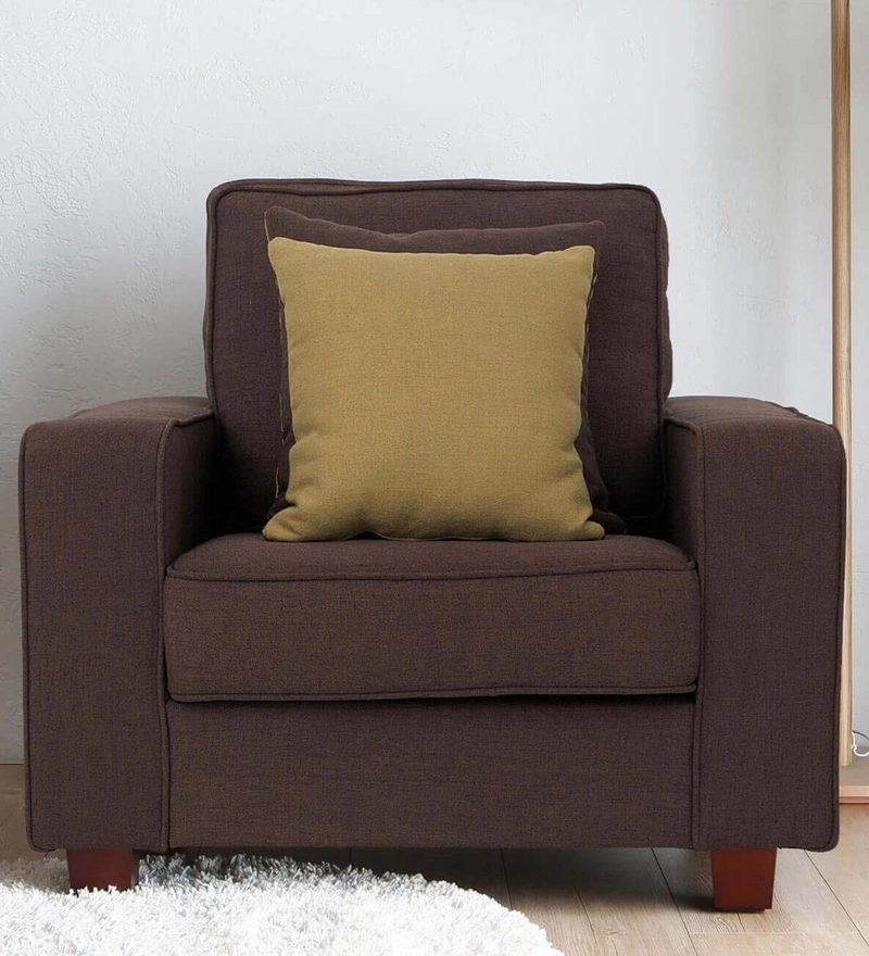 Castilla One Seater Sofa in Brown Colour by CasaCraft