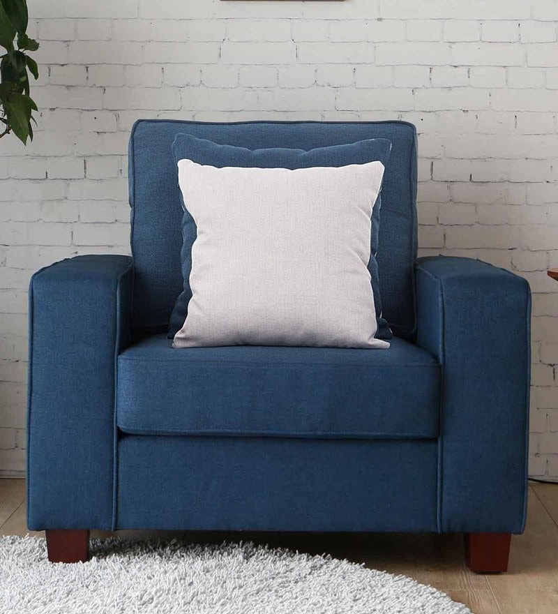 Castilla One Seater Sofa in Navy Blue Colour by CasaCraft
