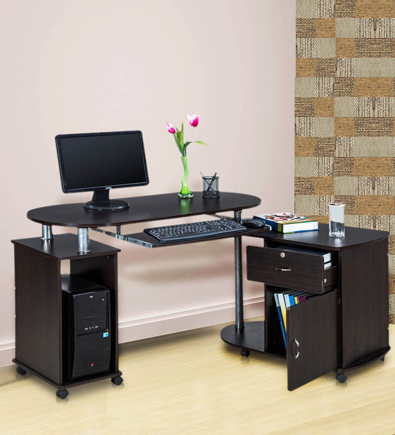 Cathy Computer Table with Pedestal on Wheels in Chocolate Colour by Royal Oak