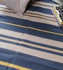 Blue & Yellow Cotton 70 x 50 Inch Stripes Design Flatweave Area Rug by Carpet Overseas