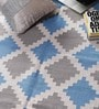 Blue Viscose 71 x 50 Inch Kilim Design Flatweave Area Rug by Carpet Overseas