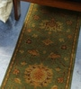 Green Wool 76 x 17 Inch Persian Design Hand Knotted Area Rug by Carpet Overseas
