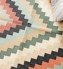 Multicolour Cotton 35 x 35 Inch Checks Design Flatweave Area Rug by Carpet Overseas