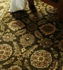 Olive Wool 98 x 59 Inch Persian Design Hand Knotted Area Rug by Carpet Overseas