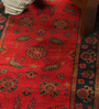 Red & Black Wool 96 x 30 Inch Kilim Design Hand Knotted Area Rug by Carpet Overseas