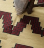 Carpet Overseas Yellow & Red Wool 65 x 40 Inch Modern Design Flatweave Area Rug