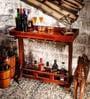 Hagermann Bar Table Cum Trolley in Honey Oak Finish by Amberville
