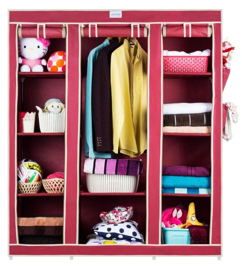 10 Racks High Capacity Metal & Fabric Foldable Wardrobe by Cbeeso
