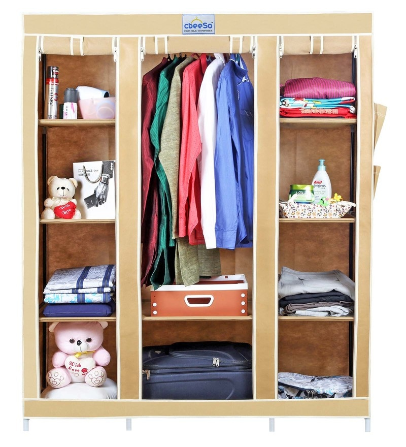 Fabric & Metal Beige Portable Wardrobe by Cbeeso